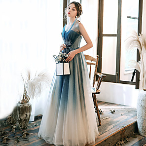 cheap Evening Dresses-A-Line Elegant Turquoise / Teal Prom Formal Evening Dress Strapless Sleeveless Floor Length Tulle with Beading Appliques 2020