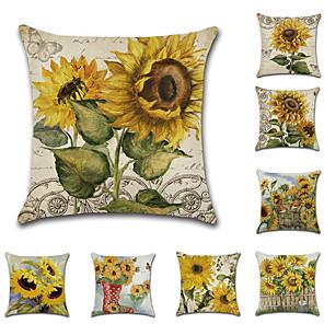 cheap Pillow Covers-8 pcs Linen Pillow Cover, Leaf Floral Print Wedding Pastoral Throw Pillow