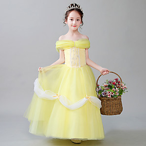 cheap Video Door Phone Systems-Belle Dress Masquerade Flower Girl Dress Girls' Movie Cosplay A-Line Slip Cosplay Halloween Yellow Dress Halloween Carnival Masquerade Tulle Polyster