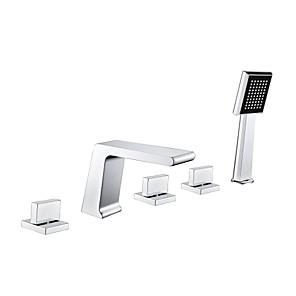 cheap Bathtub Faucets-Bathtub Faucet - Contemporary Chrome Widespread Brass Valve Bath Shower Mixer Taps