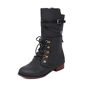cheap Women's Boots-Women's Boots Low Heel Round Toe Tassel PU Mid-Calf Boots Casual / Preppy Fall & Winter Black / Brown