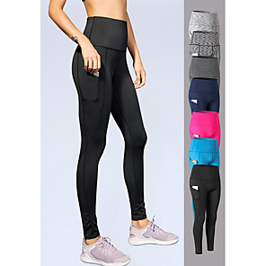 cheap Running Bags-YUERLIAN Women's High Waist Yoga Pants Pocket Leggings Tummy Control Butt Lift 4 Way Stretch Dark Grey Black Fuchsia Spandex Fitness Gym Workout Running Sports Activewear High Elasticity Skinny