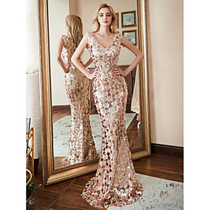 cheap Special Occasion Dresses-Mermaid / Trumpet Sexy Gold Prom Formal Evening Dress V Neck Sleeveless Sweep / Brush Train Nylon Polyester with Sequin Pattern / Print 2020