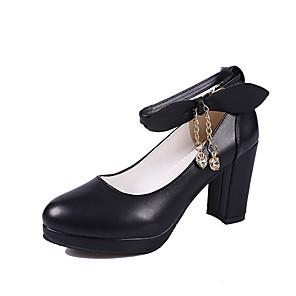 cheap Women's Heels-Women's Heels Winter Chunky Heel Round Toe Daily PU Pink / Black / Beige