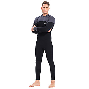cheap Wetsuits, Diving Suits & Rash Guard Shirts-YON SUB Men's Full Wetsuit 3mm CR Neoprene Diving Suit Thermal / Warm Waterproof Zipper Long Sleeve Back Zip - Diving Water Sports Patchwork Autumn / Fall Spring Winter / Micro-elastic