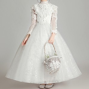 cheap Lolita Dresses-Ball Gown Ankle Length First Communion Flower Girl Dresses - Polyester Long Sleeve High Neck with Appliques