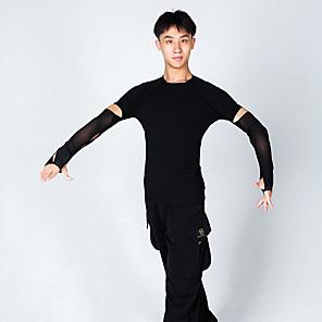 cheap Latin Dancewear-Latin Dance Top Ruching Men's Performance Long Sleeve Milk Fiber
