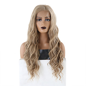 cheap Synthetic Trendy Wigs-Synthetic Lace Front Wig Wavy Side Part Lace Front Wig Blonde Long Blonde Synthetic Hair 18-26 inch Women's Soft Adjustable Heat Resistant Blonde
