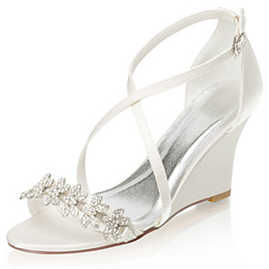cheap Women's Heels-Women's Wedding Shoes Glitter Crystal Sequined Jeweled Wedge Heel Open Toe Rhinestone Satin Summer Ivory / Party & Evening