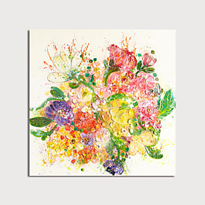 cheap Floral/Botanical Paintings-Oil Painting Hand Painted - Abstract Floral / Botanical Modern Rolled Canvas