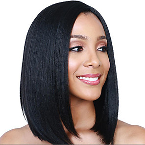 cheap Synthetic Trendy Wigs-Synthetic Wig Straight Asymmetrical Wig Medium Length Natural Black Synthetic Hair 15 inch Women's Best Quality Black