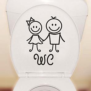 baratos Brincos-adesivos de banheiro bonito dos desenhos animados - pessoas adesivos de parede formas banheiro