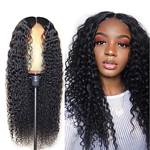 cheap Synthetic Trendy Wigs-Synthetic Wig Afro Curly Asymmetrical Wig Long Natural Black Synthetic Hair 25 inch Women's Black
