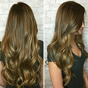 cheap Synthetic Trendy Wigs-Synthetic Wig Curly Body Wave Asymmetrical Wig Blonde Long Brown Synthetic Hair 27 inch Women's Best Quality Blonde
