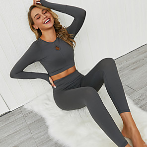 cheap Women's Yoga Suits-Women's Tracksuit Yoga Suit 2pcs Thumbhole Ruched Butt Lifting Winter Dark Grey Purple Blue Fitness Gym Workout Running Cropped Leggings Crop Top High Waist Long Sleeve Sport Activewear High