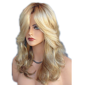cheap Synthetic Trendy Wigs-Synthetic Wig Straight Wavy Kardashian Middle Part Side Part Wig Blonde Medium Length Blonde Synthetic Hair 22inch Women's Adjustable Heat Resistant Classic Blonde / Ombre Hair / Natural Hairline