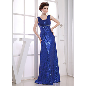 cheap Party Hats-Sheath / Column Sparkle Wedding Guest Engagement Formal Evening Dress V Neck Sleeveless Floor Length Chiffon Sequined with Beading 2020