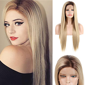 cheap Synthetic Lace Wigs-Synthetic Lace Front Wig Silky Straight Middle Part Lace Front Wig Blonde Ombre Long Blonde Synthetic Hair 18-24 inch Women's Adjustable Heat Resistant Synthetic Blonde Ombre
