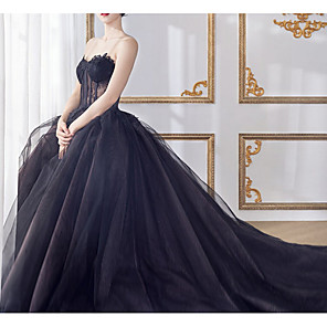 cheap Evening Dresses-A-Line Wedding Dresses Sweetheart Neckline Court Train Lace Tulle Strapless Formal Black with Lace Insert 2020