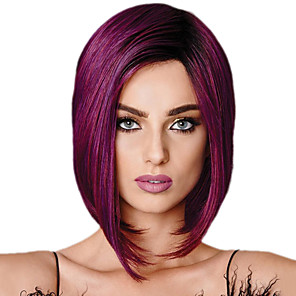 cheap Synthetic Trendy Wigs-Synthetic Wig Straight Bob Wig Short Purple Synthetic Hair 11 inch Women's Purple