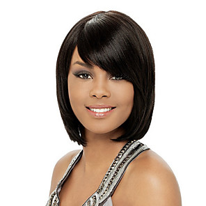 cheap Synthetic Trendy Wigs-Synthetic Wig Curly Asymmetrical Wig Short Natural Black Synthetic Hair 11 inch Women's Best Quality Black