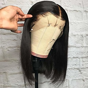 cheap 3 Bundles Human Hair Weaves-Remy Human Hair Lace Front Wig Deep Parting style Brazilian Hair Yaki Straight Natural Wig 150% Density with Baby Hair Adjustable Thick Natural Hairline Women's Short Human Hair Lace Wig Premierwigs