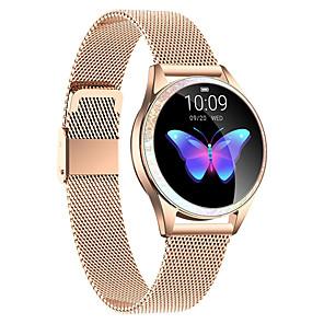 billige Smartklokker-kw20 rustfritt stål smartwatch bluetooth fitness tracker med trådløse øretelefoner for samsung / ios / android telefoner