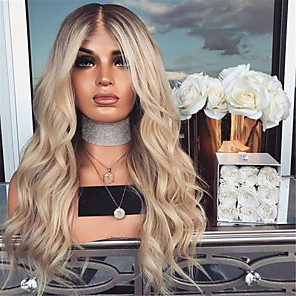 cheap Synthetic Trendy Wigs-Synthetic Wig Curly Asymmetrical Wig Blonde Ombre Long Blonde Synthetic Hair 27 inch Women's Best Quality Blonde Ombre