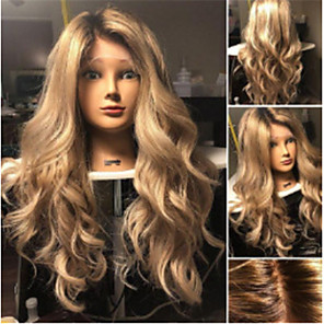 cheap Synthetic Trendy Wigs-Synthetic Wig Wavy Asymmetrical Wig Blonde Ombre Long Ombre Blonde Synthetic Hair 27 inch Women's Best Quality Blonde Ombre