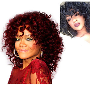 cheap Synthetic Trendy Wigs-Synthetic Wig Curly Asymmetrical Wig Burgundy Short Natural Black Burgundy Synthetic Hair 5 inch Women's Black Burgundy