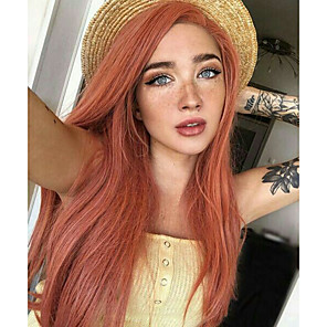 cheap Synthetic Lace Wigs-Synthetic Lace Front Wig Straight Side Part Lace Front Wig Pink Long Orange Synthetic Hair 18-26 inch Women's Soft Adjustable Party Pink