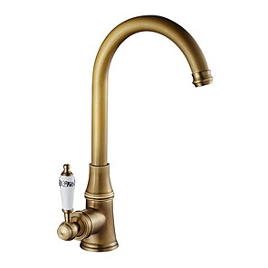 cheap Bathroom Sink Faucets-Kitchen faucet - Single Handle One Hole Electroplated Standard Spout / Tall / High Arc Centerset Contemporary Kitchen Taps