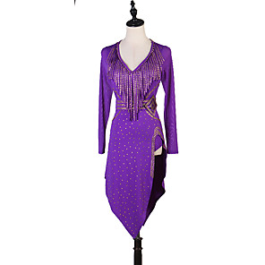 cheap Latin Dancewear-Latin Dance Dress Sashes / Ribbons Split Crystals / Rhinestones Women's Training Long Sleeve High Chinlon