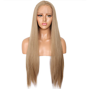 cheap Synthetic Lace Wigs-Synthetic Lace Front Wig Straight Side Part Lace Front Wig Blonde Long Flaxen Synthetic Hair 18-26 inch Women's Soft Adjustable Party Blonde