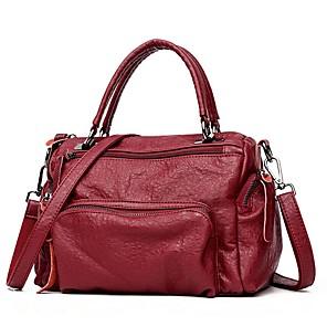 cheap Men's Sandals-Women's Zipper Cowhide Top Handle Bag Black / Wine / Gray