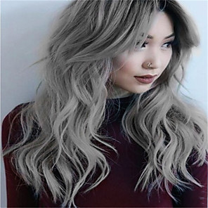 cheap Synthetic Trendy Wigs-Synthetic Wig Curly kinky Straight Asymmetrical Wig Long Grey Synthetic Hair 27 inch Women's Best Quality Gray