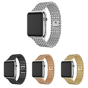 cheap Smartwatch Bands-Band For Apple Watch 38mm 40mm 42mm 44mm Fashion Beads Style Stainless Steel Strap For Iwatch 1 2 3 4 5 Watchband Bracelet belt