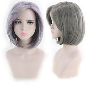 cheap Synthetic Trendy Wigs-Synthetic Wig kinky Straight Bob Wig Short Grey Purple Synthetic Hair 11 inch Women's Best Quality Purple Gray