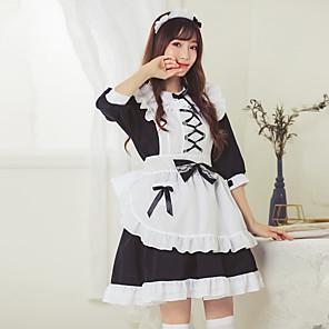 cheap Lolita Dresses-Sweet Lolita Maid Uniforms Dress Female Japanese Cosplay Costumes White Color Block 3/4 Length Sleeve / Apron