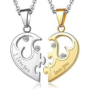 cheap Pendant Necklaces-Men's Women's Pendant Necklace Geometrical Heart Fashion Titanium Steel Golden+Silver Coin-Silver 50 cm Necklace Jewelry 1pc For Daily Promise