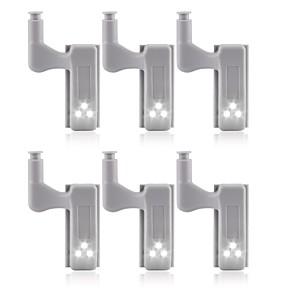 baratos Luzes de LED para Armários-6 pcs universal led sob a luz do armário armário dobradiça interior lâmpada armário roupeiro sensor de luz cozinha em casa luz noturna