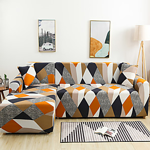 cheap Wall Stickers-Triangle Print Dustproof Stretch Slipcovers Stretch Sofa Cover Super Soft Fabric Couch Cover (You will Get 1 Throw Pillow Case as free Gift)