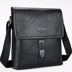 cheap Wedding Shoes-Men's Zipper Cowhide Crossbody Bag Solid Color Black / Brown