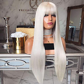 cheap Synthetic Lace Wigs-Synthetic Wig Straight Asymmetrical Wig Long White Synthetic Hair 27 inch Women's Best Quality White