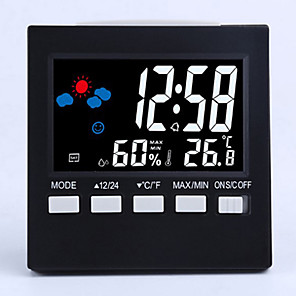 cheap Wall Clocks-New Weather Station Alarm Clock Thermometer Wireless Temperature Humidity Meter