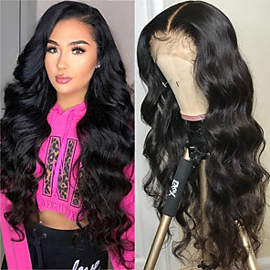 cheap Human Hair Wigs-Human Hair 4x13 Closure Wig style Brazilian Hair Body Wave Natural Wig 130% Density Smooth Women Comfortable Wedding Natural Hairline Women's Medium Length Human Hair Lace Wig