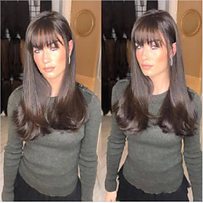 cheap Synthetic Lace Wigs-Synthetic Wig Loose Curl Asymmetrical Wig Long Brown Synthetic Hair 27 inch Women's Best Quality Brown