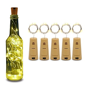 cheap LED String Lights-5pcs String led Wine Bottle with Cork 20 LED Bottle Lights Battery Cork for Party Wedding Christmas Halloween Bar Decor Warm White