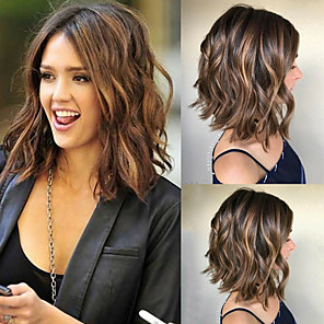 cheap Synthetic Trendy Wigs-Synthetic Wig Loose Curl Asymmetrical Wig Long Ombre Brown Synthetic Hair 14 inch Women's Color Gradient Middle Part Brown