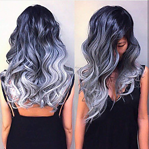 cheap Synthetic Trendy Wigs-Synthetic Wig Body Wave Asymmetrical Wig Long Ombre Purple Synthetic Hair 25 inch Women's Color Gradient Best Quality Purple